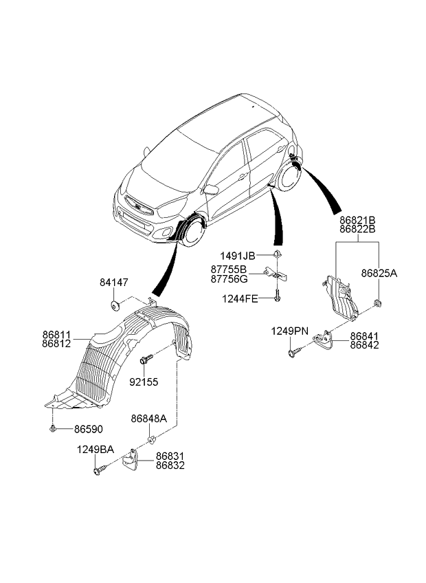 Подкрылок передний правый KIA Picanto 2 (2011-н.в.)