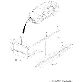 Молдинг капота (хром) Chevrolet Aveo T250 (2006-2012)