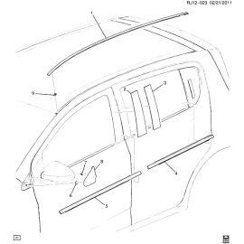 Молдинг крыши левый хэтчбек Chevrolet Aveo T300 (2012-2017)
