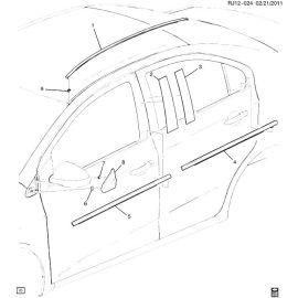 Молдинг крыши правый седан Chevrolet Aveo T300 (2012-2017)
