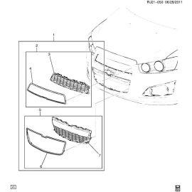 Решетка радиатора нижняя Chevrolet Aveo T300 (2012-2017)