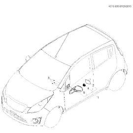 Крышка корпуса зеркала заднего вида левая Chevrolet Spark M300 (2010-2015)