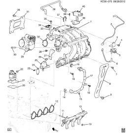 Прокладка впускного коллектора 1.0-1.2 Chevrolet Spark M300 (2010-2015)