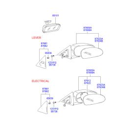 Элемент зеркала механического правый Hyundai Accent (2001-2006)