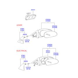 Элемент зеркала электрического левый Hyundai Accent (2001-2006)
