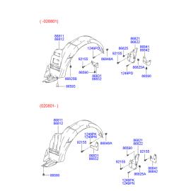 Подкрылок задний правый Hyundai Accent (2001-2006)