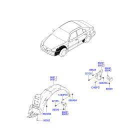 Подкрылок передний правый Hyundai Accent (2001-2006)