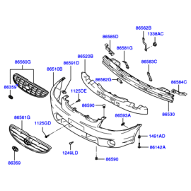 Усилитель бампера переднего Hyundai Accent (2001-2006)