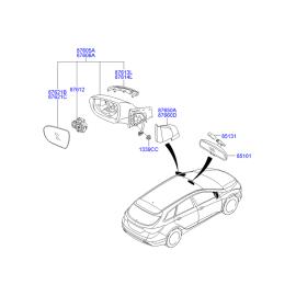 Элемент зеркала левый Hyundai i40 (2012-н.в.)