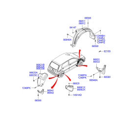 Брызговик передний левый Hyundai Getz (2002-2011)