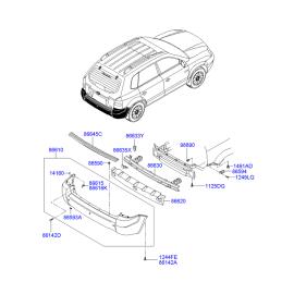 Абсорбер бампера заднего Hyundai Tucson 1 (2004-2010)