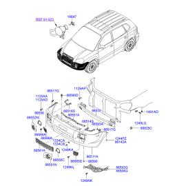 Решетка бампера переднего Hyundai Tucson 1 (2004-2010)
