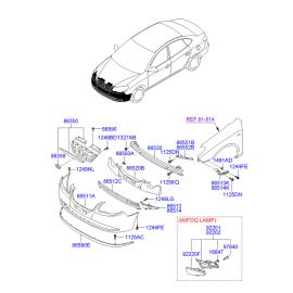 Абсорбер бампера переднего Hyundai Elantra 4 (2006-2010)