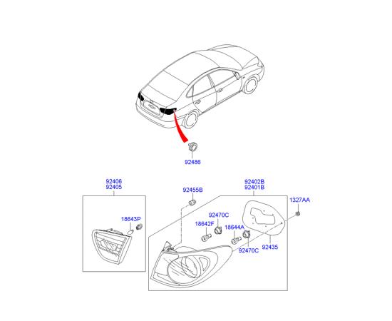 Фонарь правый внутренний Hyundai Elantra 4 (2006-2010)