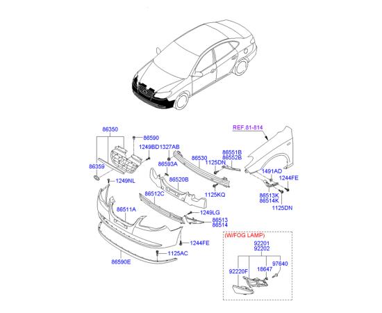 Решетка бампера переднего Hyundai Elantra 4 (2006-2010)
