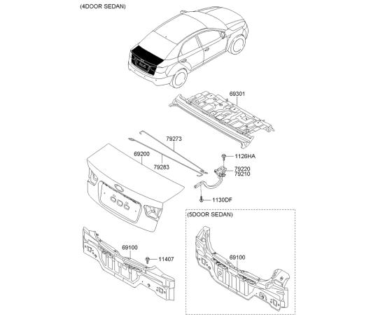 Крышка багажника KIA Cerato 2 (2009-2013)