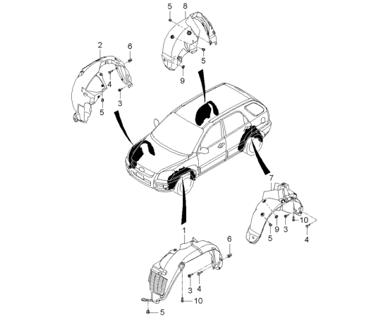 Подкрылок задний правый KIA Sportage 2 (2004-2010)