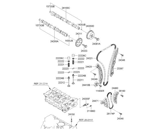 Направляющая цепи масляного насоса левая KIA Sportage 3 (2010-2015)