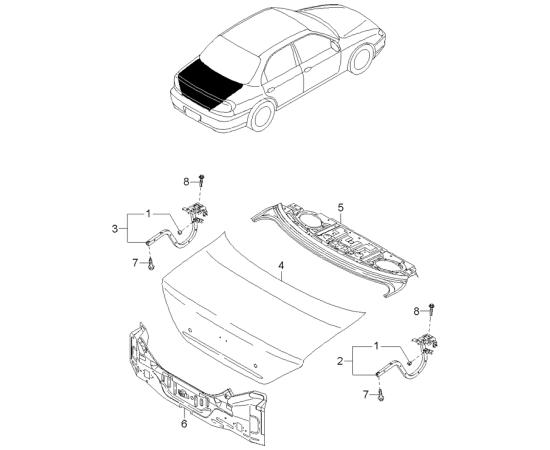 Крышка багажника KIA Spectra (2006-2009)