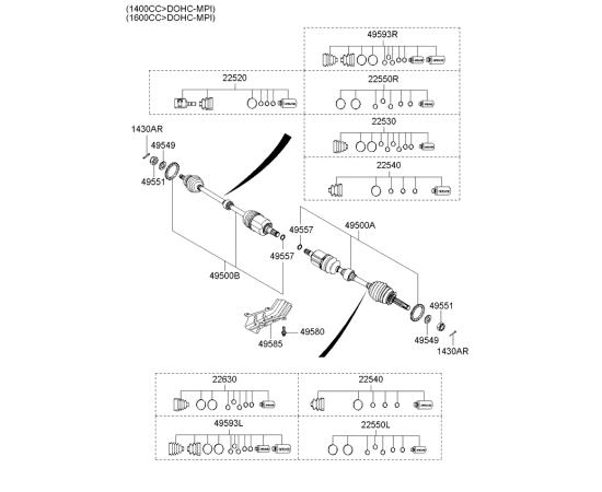 Привод правый в сборе KIA Ceed 1 (2007-2012)